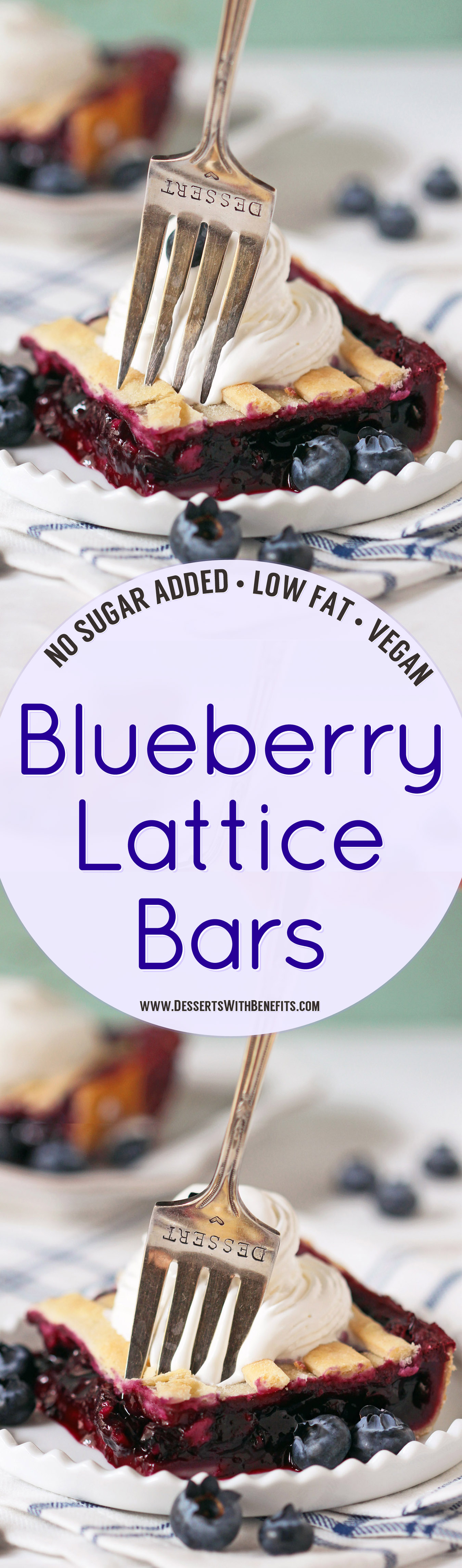 These 5-ingredient Blueberry Lattice Bars are a guaranteed crowdpleaser! Bursting with sweet, fresh blueberry flavor, plus a buttery pie crust, you'd never know they're vegan, low fat, contain no added sugar, and are totally guilt free! Healthy Dessert Recipes with sugar free, low calorie, low carb, high protein, and gluten free options at the Desserts With Benefits Blog (www.DessertsWithBenefits.com)