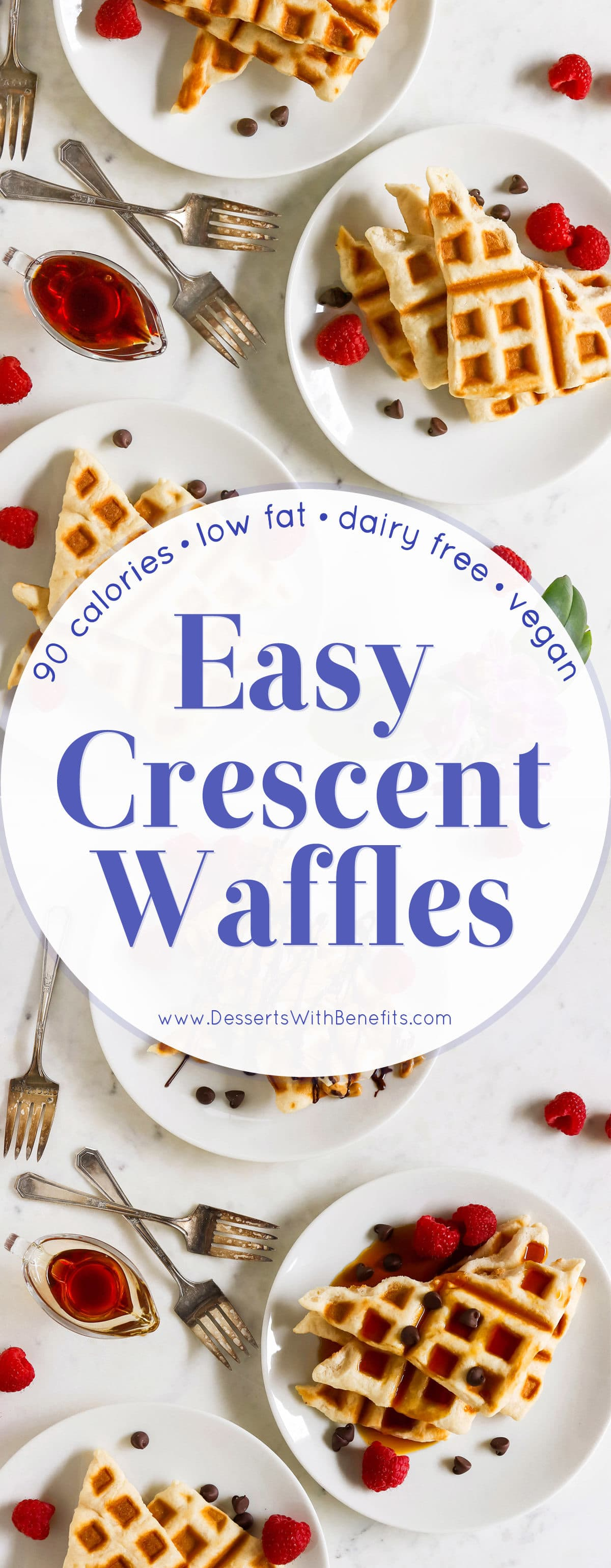 Short on time or don't feel like whipping up waffles from scratch? Take a shortcut and make these SUPER easy Crescent Waffles! Low sugar, low fat, dairy free, and vegan, with just 90 calories each. Like your favorite crescent roll in the form of a waffle -- crispy on the outside, soft and fluffy on the inside! Healthy dessert recipes at the Desserts With Benefits Blog (www.DessertsWithBenefits.com)