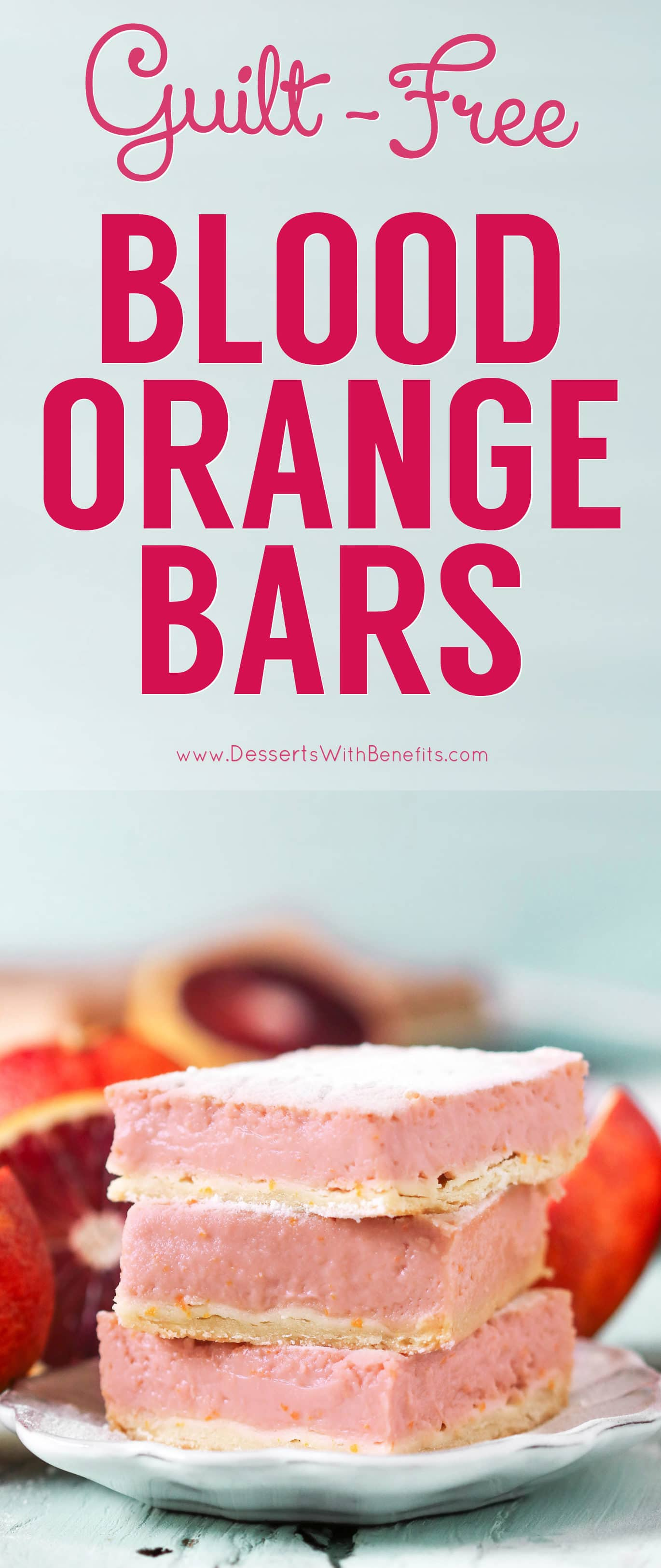 These Blood Orange Bars are perfectly sweet, tart, refreshing, and delicious, you'd never know they're guilt-free! Lower calorie and lower fat than the original, and made without any added butter, oil, or sugar. If you like Lemon Bars, you'll love this recipe! Healthy dessert recipes at the Desserts With Benefits Blog (www.DessertsWithBenefits.com)