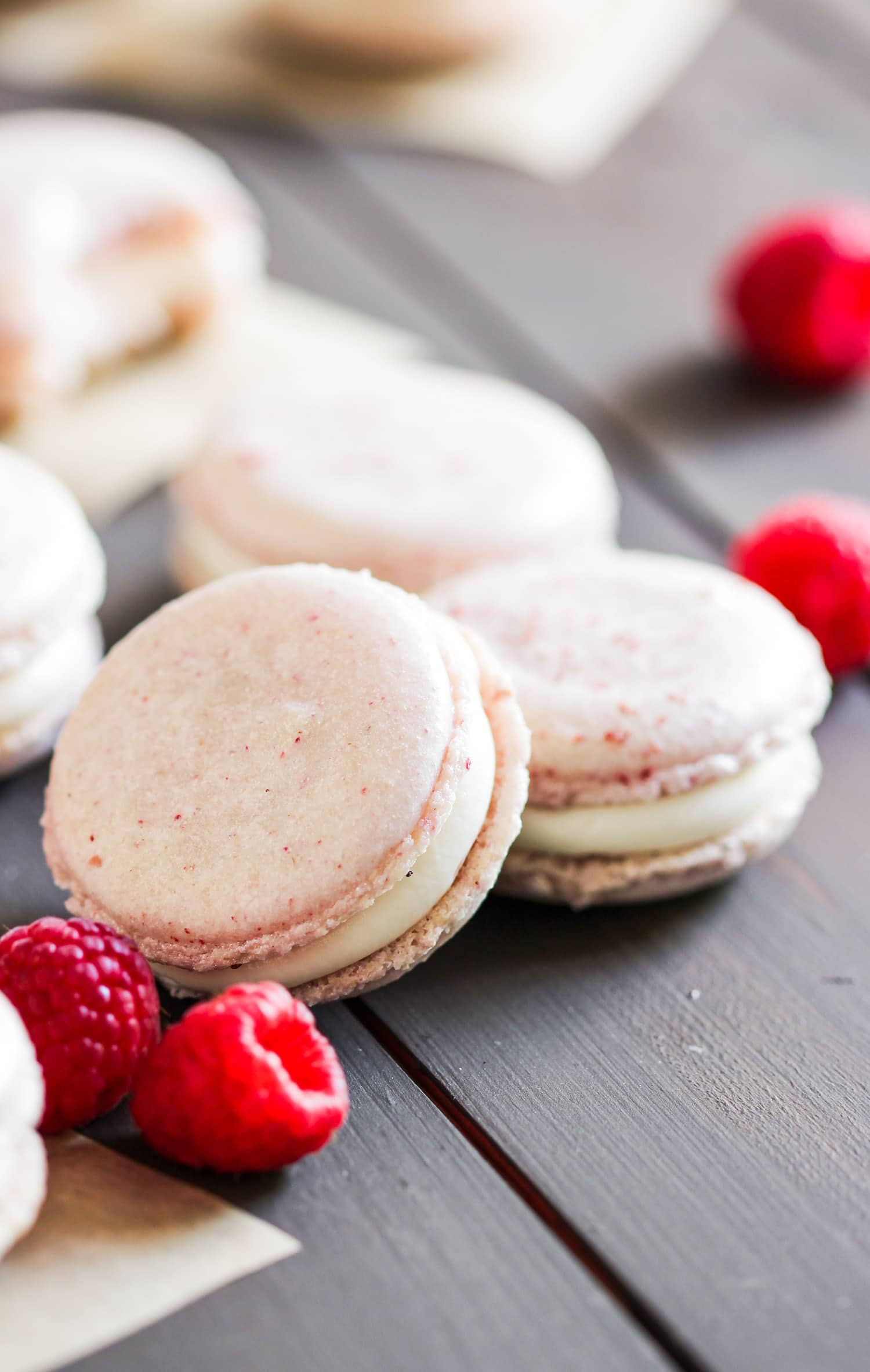How to make Healthy Raspberry French Macarons! These are sweet, addicting, and packed with raspberry flavor, you'd never know they're made without white sugar, artificial flavorings, and artificial food dyes! These are all natural, low fat, and gluten free. PERFECT for Valentine's Day, birthdays and gifting! Healthy Dessert Recipes at the Desserts With Benefits Blog (www.DessertsWithBenefits.com)