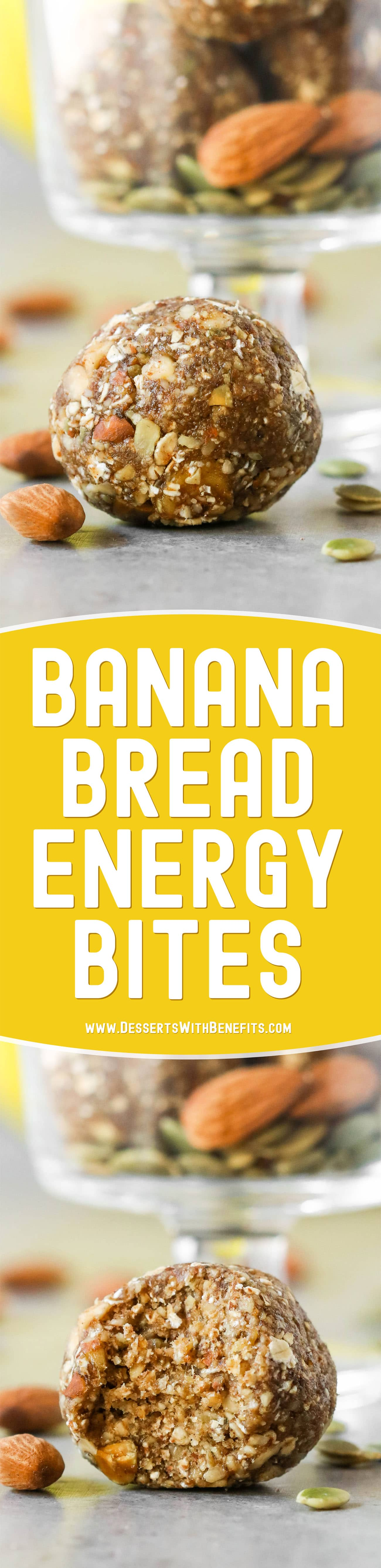 These Banana Bread No Bake Energy Bites are soft, fudgy, sweet, and delicious, it's hard to believe they're raw, vegan, and gluten free, with no added sugar! They're fast and easy to make with only seven ingredients required. Satisfy your banana bread cravings the healthy way with this energy bites recipe!