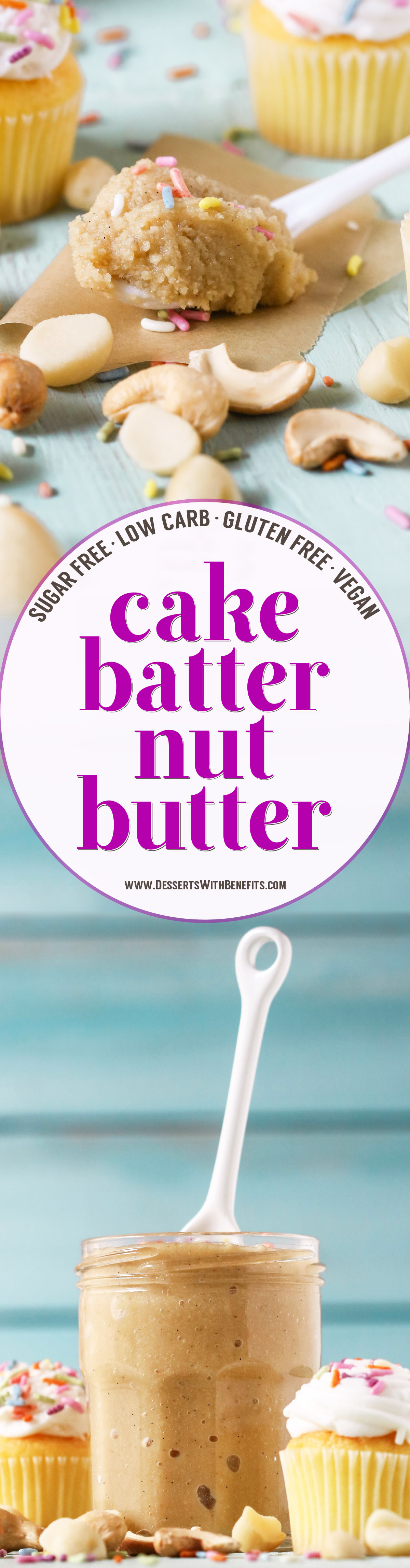 This Healthy Cake Batter Nut Butter is sweet, buttery, dense, thick, and spreadable. This easy 5-ingredient recipe is sugar free, low carb, gluten free, dairy free, and vegan!