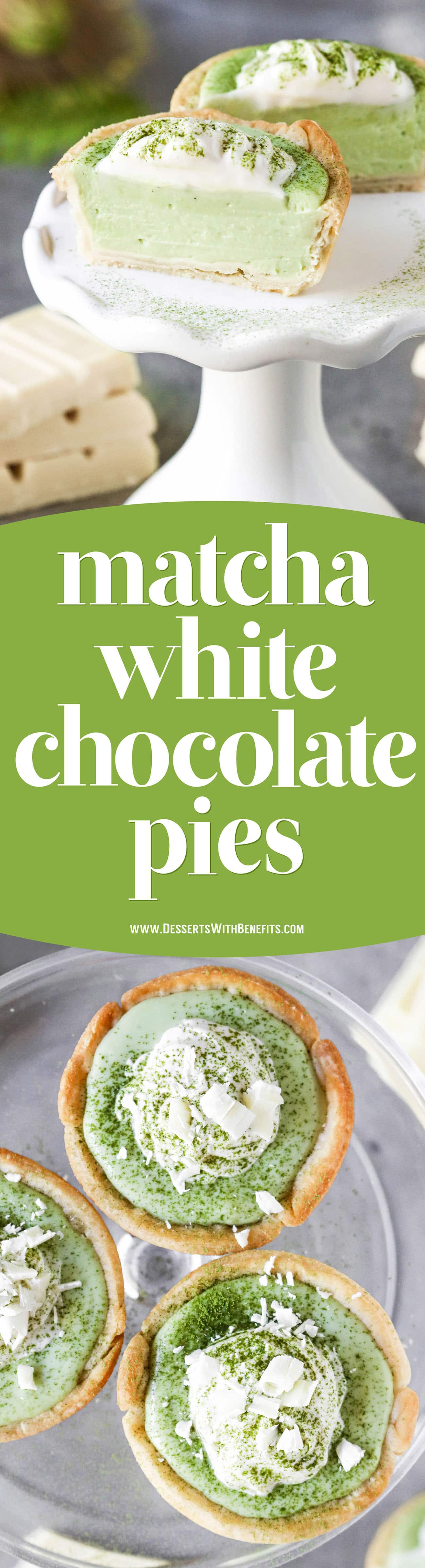 These Mini Matcha Green Tea White Chocolate Pies have a light and flaky pie crust filled with a creamy, sweet, delicious matcha-white chocolate filling.