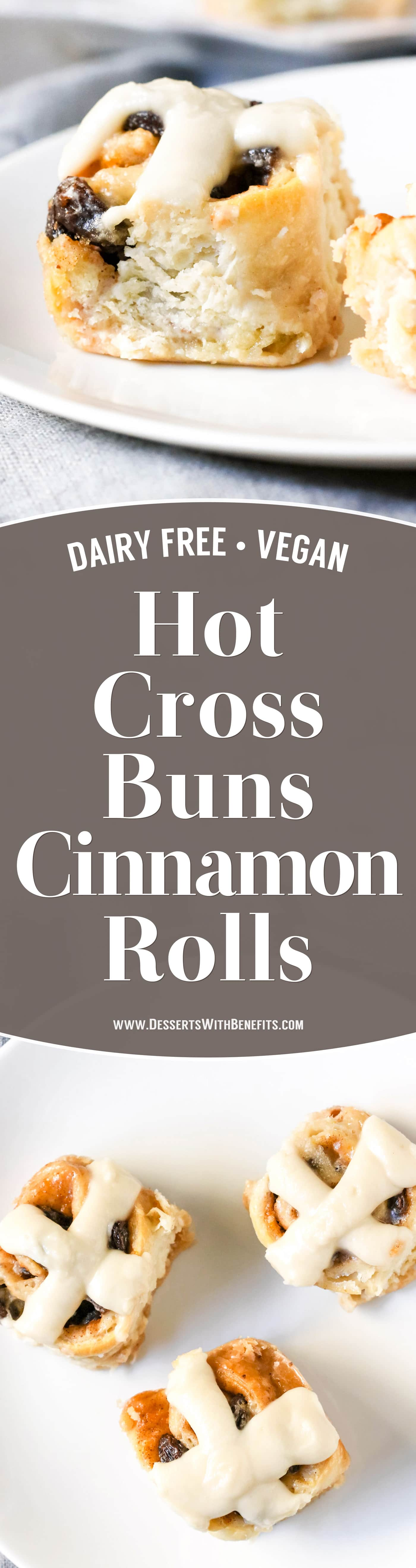 These Hot Cross Buns Cinnamon Rolls are like traditional Hot Cross Buns but BETTER! They're fluffy, sweeter than the original, and spiced with cinnamon and nutmeg. One bite and you'll have a hard time believing they're dairy free and vegan with no sugar added.