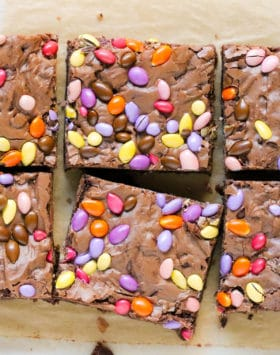 These all natural Homemade Cosmic Brownies are dense, fudgy, chewy, and made with just 4 ingredients! It's hardto believe this easy recipe is better for you than the storebought version -- no preservatives or artificial ingredients whatsoever!