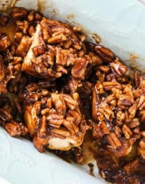 You'll wow everyone with these Sticky Buns! They're soft, fluffy, sweet, perfectly spiced with cinnamon, and topped with caramel-pecan goodness. No one will believe these are dairy free, vegan, and low in sugar.