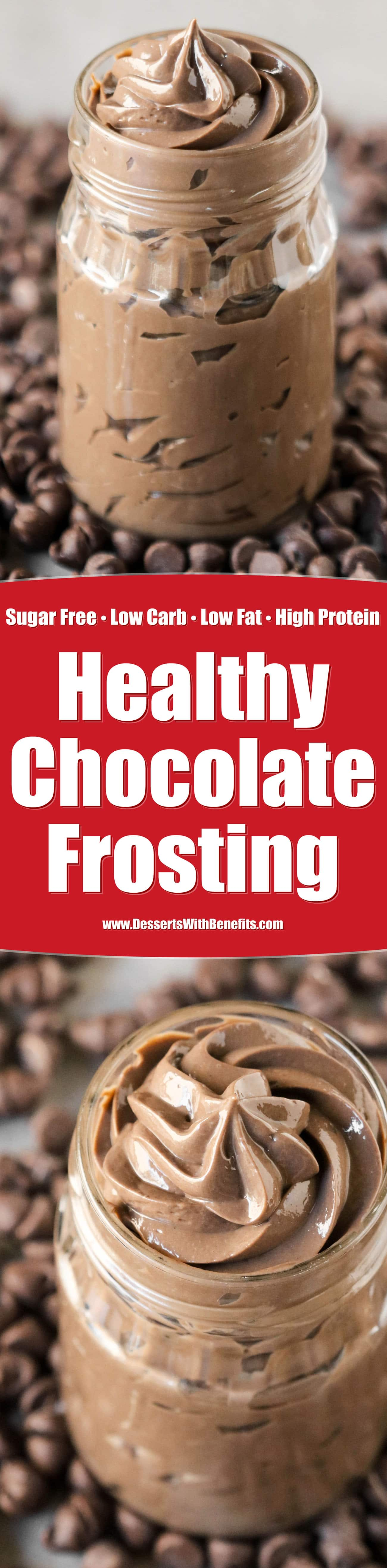 This healthy Chocolate Protein Frosting is perfect for EVERYTHING. It's sweet, creamy, and uber chocolatey, but without the white sugar, butter, hydrogenated shortening (aka trans fats), and artificial flavorings. Just as good as the original, but made good for you! It's hard to believe this is sugar free, low carb, low fat, high protein, and gluten free!