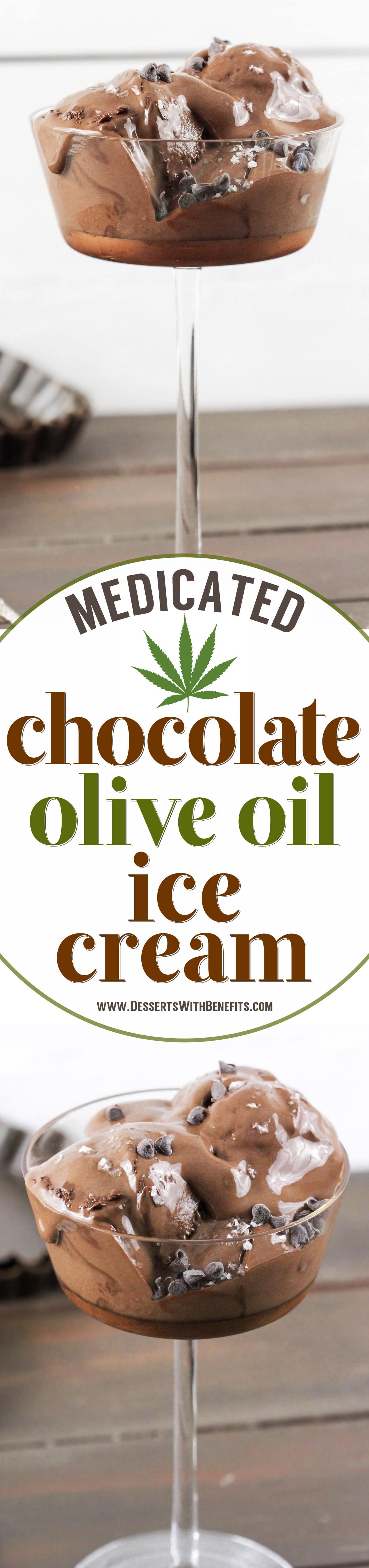 This 5-ingredient Chocolate Olive Oil Ice Cream is ultra creamy, incredibly rich, and perfectly sweet, and it's made in a blender too (no ice cream maker required)! Best of all, it's refined sugar free and full of healthy fats, with a punch of protein, and a secret ingredient:  cannabis-infused olive oil! Get into the homemade marijuana edibles game with this Medicated Chocolate Olive Oil Ice Cream. Way better than pot brownies, am I right?