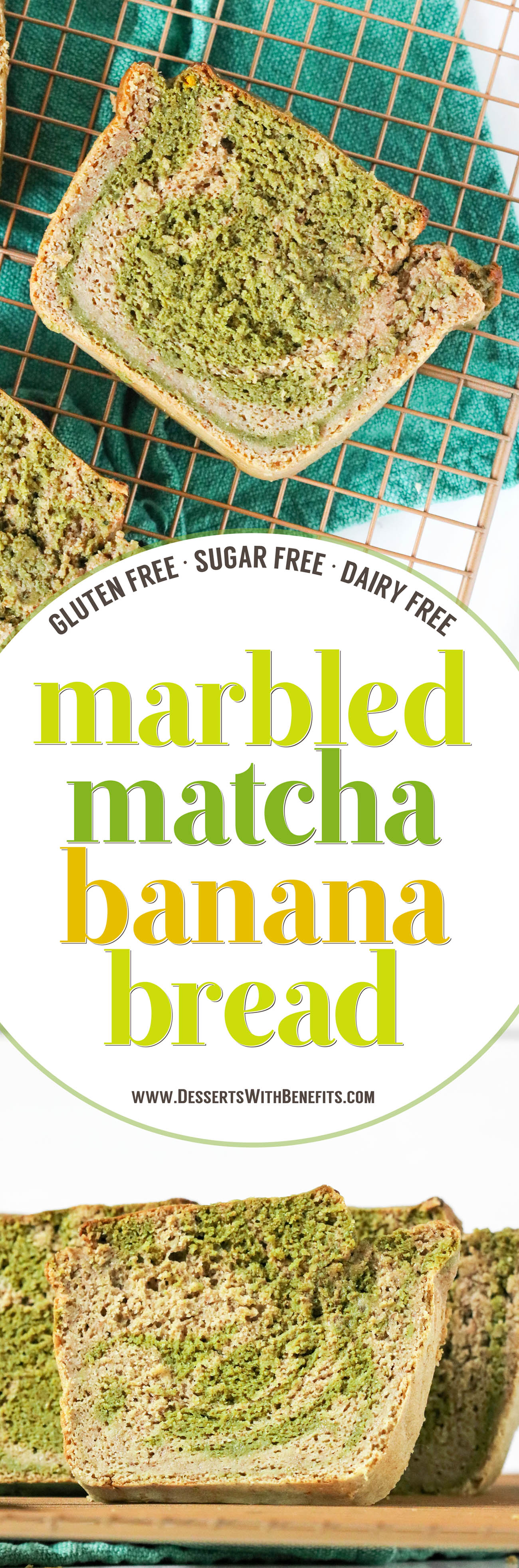 This Marbled Matcha Green Tea Banana Bread is so moist, fluffy, springy, and flavorful, you'd never know it's gluten free, dairy free, sugar free, and high protein!