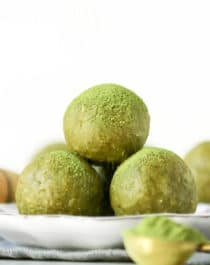 These Matcha Green Tea Energy Bites are soft, fudgy, sweet -- they're a real guilt-free treat. Made with nut butter, oats, and matcha powder. You'd never know they're sugar free, gluten free, dairy free, vegan, and keto-friendly too!