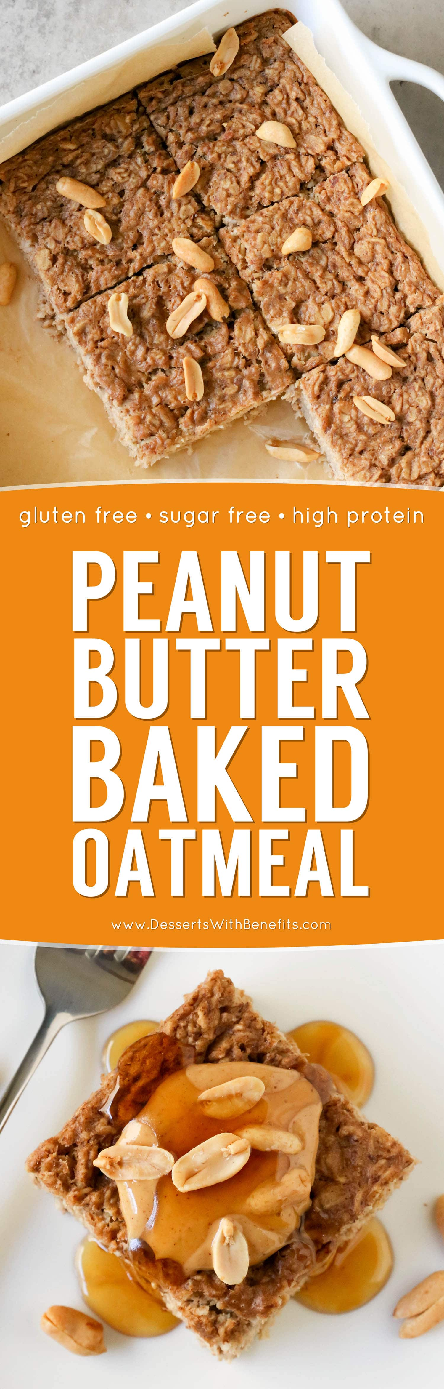 This healthy Peanut Butter Baked Oatmeal is soft and light, yet packed with protein, fiber, and healthy fats, and none of the added sugar! Plus, it's sugar free, gluten free, dairy free, and vegan too!