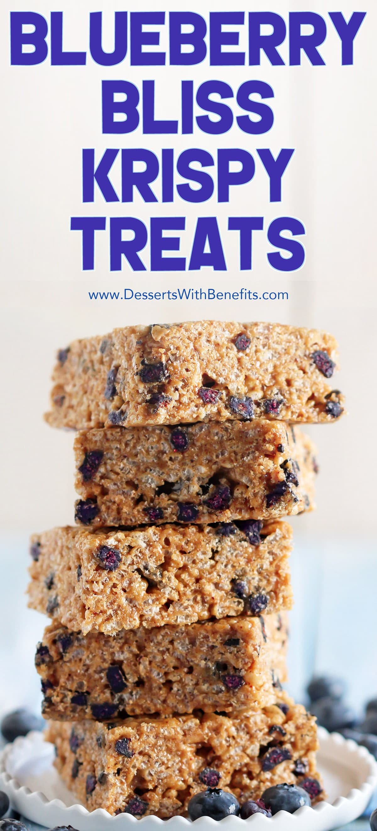 These Blueberry Bliss Krispy Treats are secretly healthy -- made with whole grain brown rice cereal, low glycemic raw honey, delicious almond butter, and a sprinkling of protein powder. It's crispy and chewy, but without the butter and sugary, high-fructose corn-syrup-laden marshmallows.