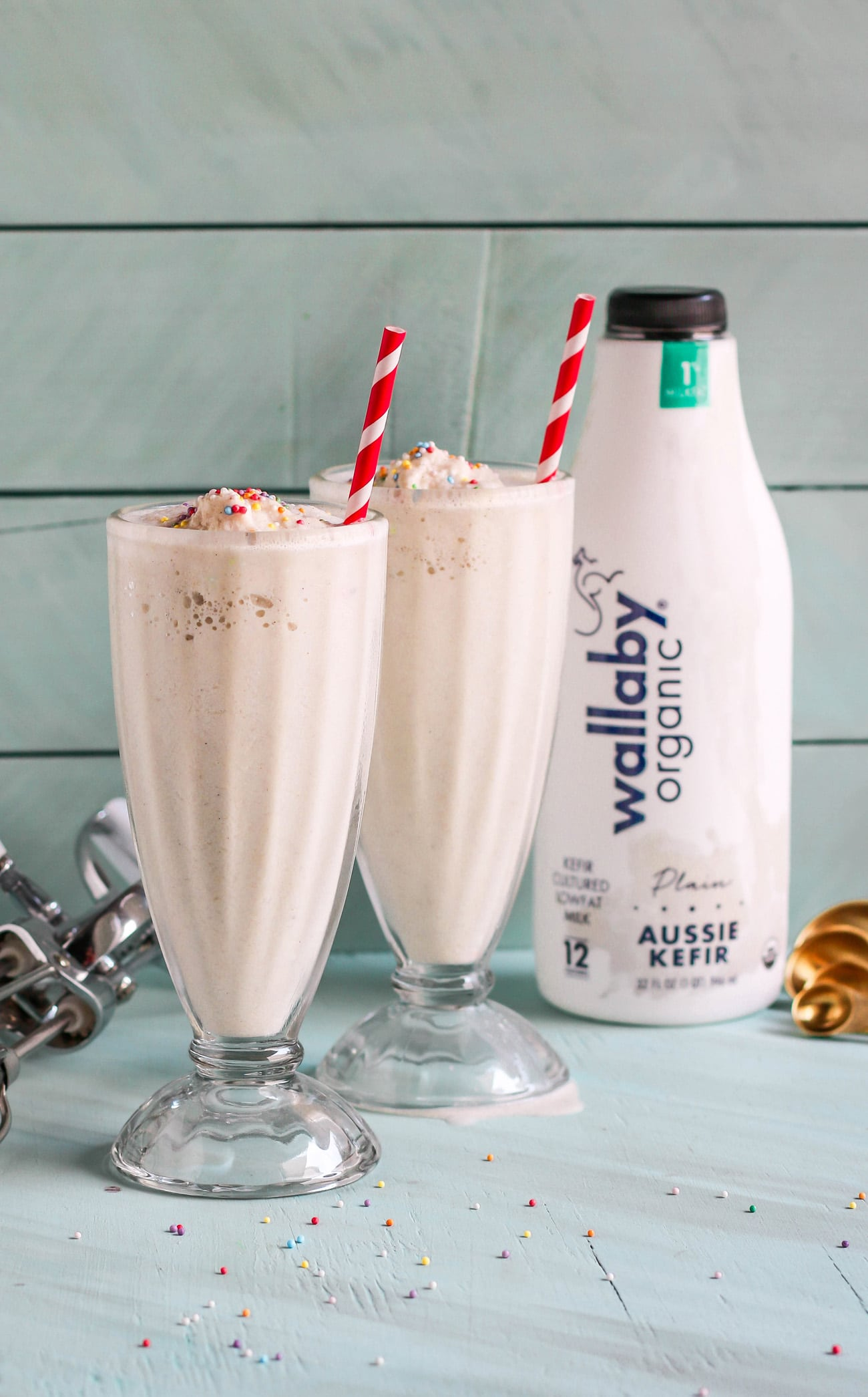 When you're craving cake but don't want to go through the hassle of baking, make this Cake Batter Milkshake! It's secretly sugar free, low fat, high protein, and gluten free too, made with kefir (or yogurt), oats, vanilla, and a couple secret ingredients that make it taste just like vanilla cake in drinkable form.