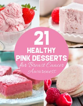 Have a pink October to honor Breast Cancer Awareness Month. Make one (or all!) of these 21 healthy pink desserts for a friend, a family member, a neighbor, a school convention, a fundraiser, or just for yourself!  From cake to cupcakes to fudge to ice cream to blondies to milkshakes, you'll be sure to find a favorite or two.  And best of all, they're all recipes you can feel good about eating!  There are options for everyone, whether you eat sugar free, low carb, low fat, high protein, high fiber, whole grain, gluten free, dairy free, vegan, paleo, or keto, there's a recipe for you.