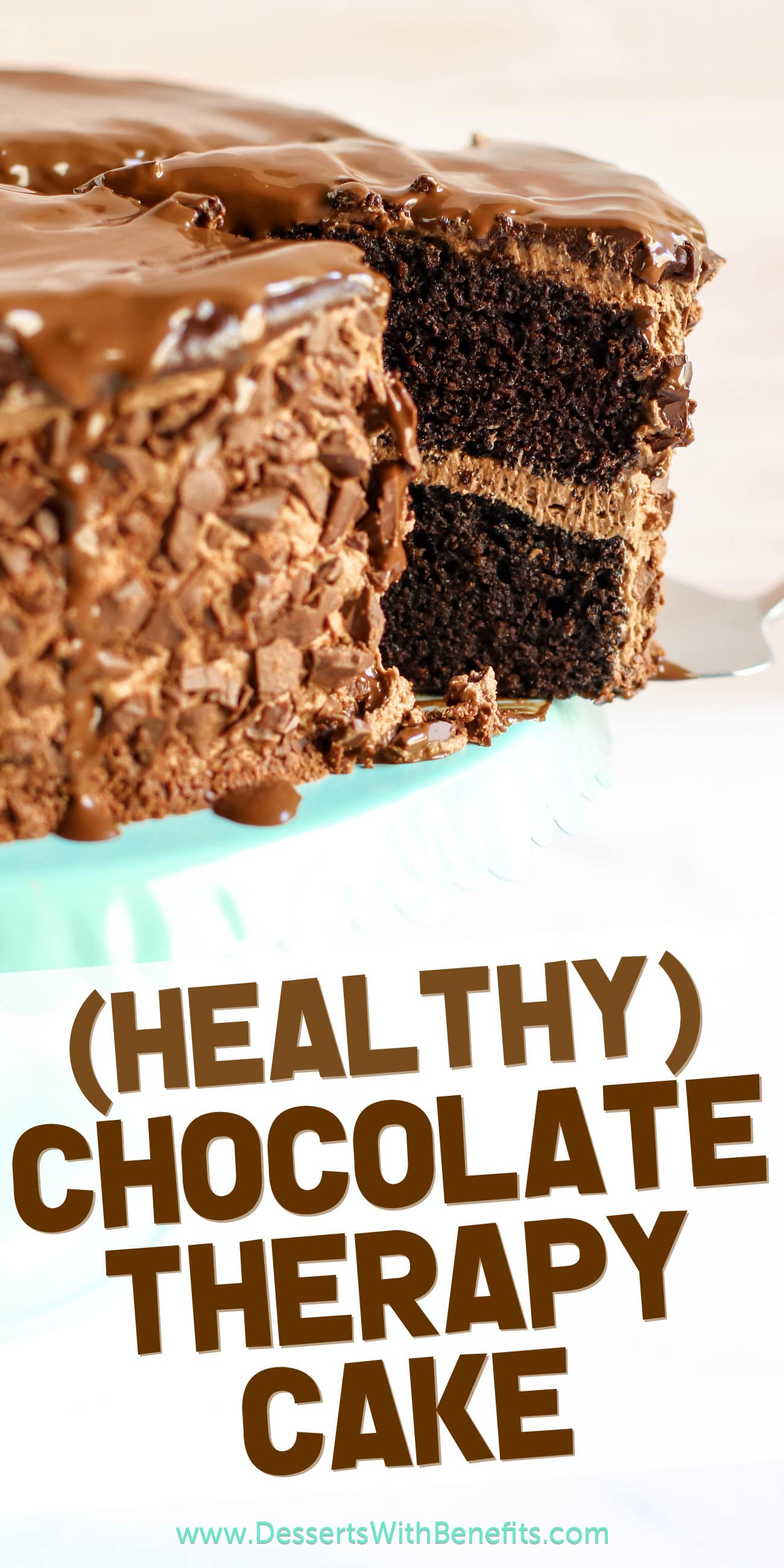 "Chocolate Therapy Cakes are ""therapeutic"" in the sense that they'll immerse you into a deep, food- and sugar-induced coma, but this one is different. This is a HEALTHY Chocolate Therapy Cake! Made with gluten-free and low-carb coconut flour, unsweetened applesauce, and dark chocolate. No sugar, butter, or oil added whatsoever. #glutenfreecake #lowcarbcake #healthychocolatecake #sugarfreefrosting #highprotein #coconutflourcake"