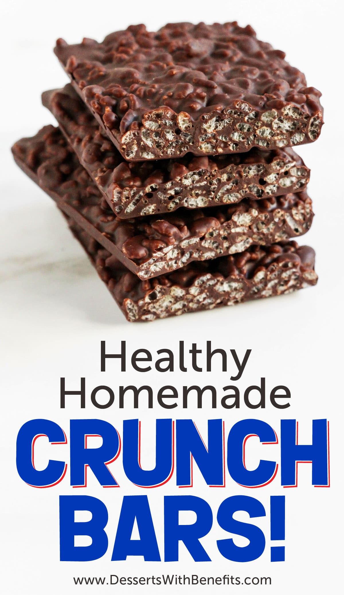 These easy 2-ingredient Homemade Crunch Bars taste JUST like the original, except they're way better (and healthier too)! Crunchy, crispy, chocolatey, and satisfying. You'd never know they're sugar free, and gluten free too! Perfect for Halloween, birthdays, surprise parties, movie theatre snacks, or a decadent treat just for you. #sugarfree #glutenfree #halloween #chocolate #homemade #candy #candybars #DIY
