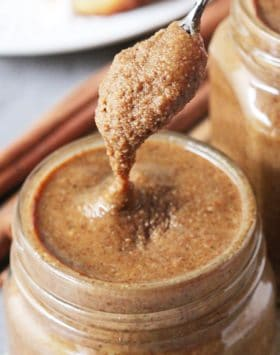 This Healthy Cinnamon Roll Almond Butter has got all the flavor of cinnamon rolls but in a sweet and spreadable form! Perfect on toast, oatmeal, ice cream, parfaits, AND a spoon. Made with toasted almonds, coconut oil, cinnamon, molasses, and stevia extract -- no butter, no sugar, no artificial ingredients. Best of all, it's refined sugar free, gluten free, and vegan!