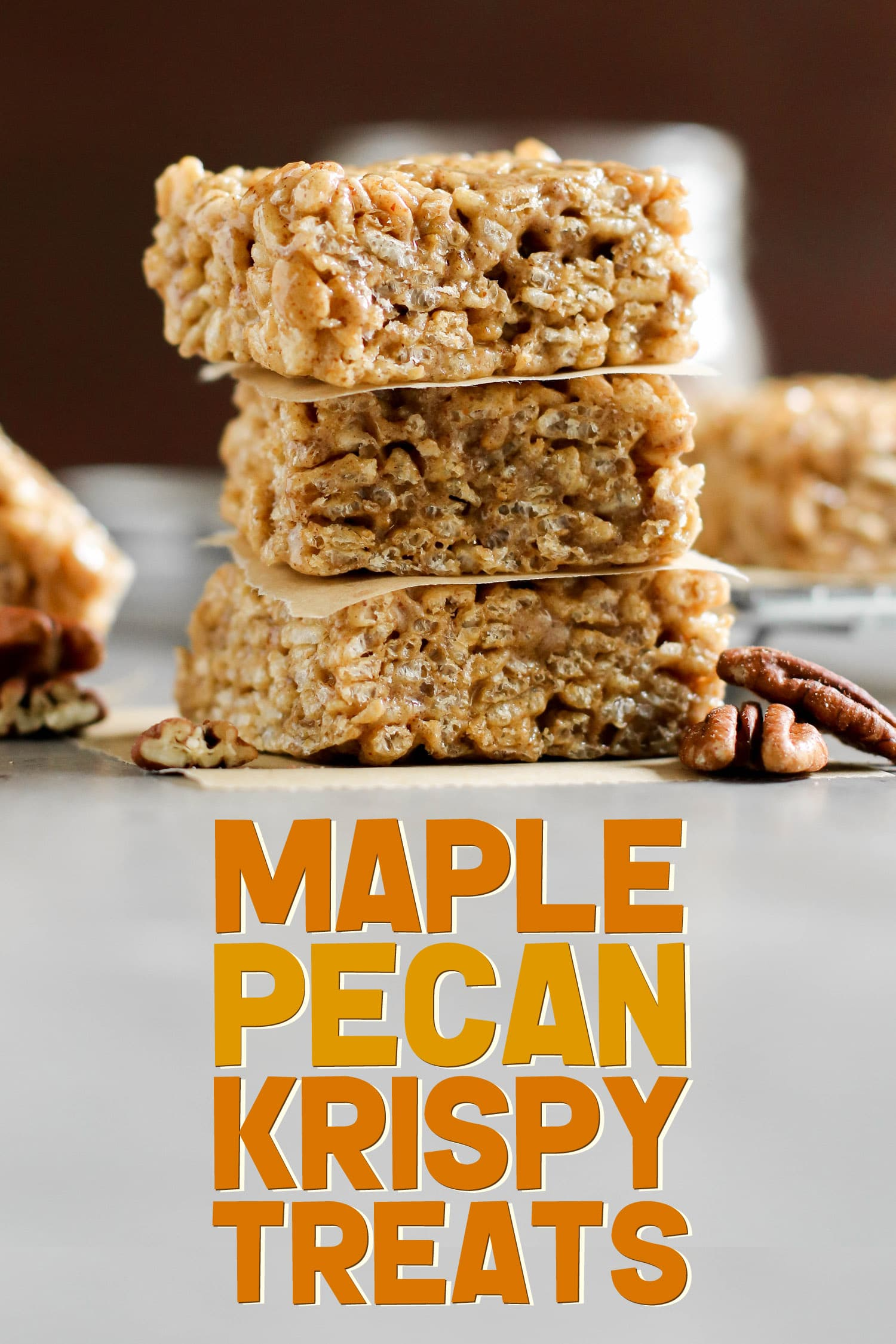 These easy, no-bake Maple Pecan Krispy Treats are chewy, crunchy, 100% delicious, and secretly healthy! You'd never know they're refined sugar free, high protein, and gluten free too. Made with pure maple syrup and easy homemade pecan butter. #glutenfree #highprotein #healthy #healthydessert
