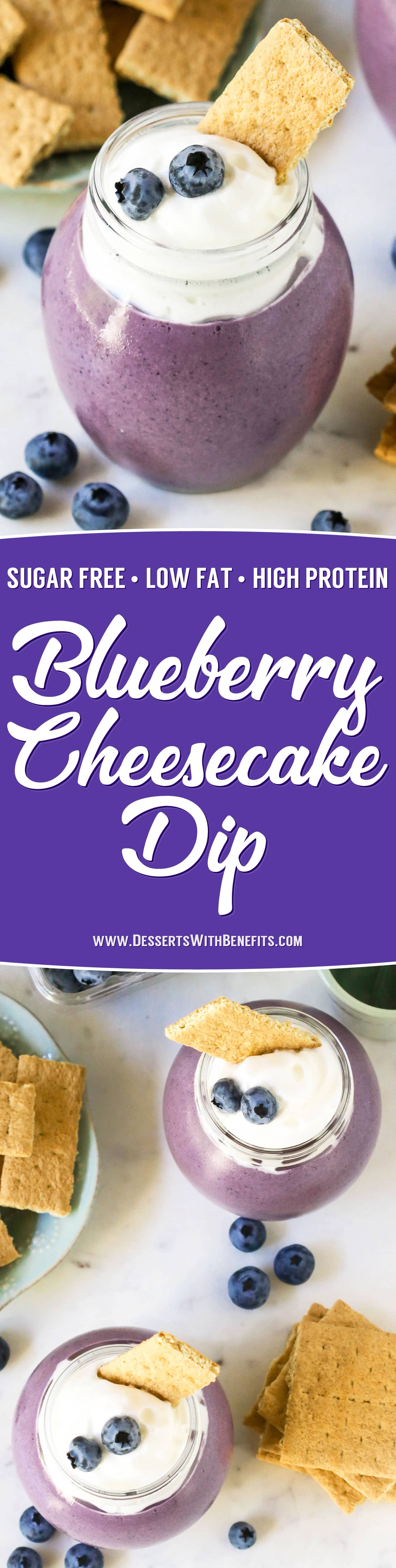 Don't have time to bake off an entire cheesecake? Make this 5-minute Blueberry Cheesecake Dip! It's thick, creamy, and sweet, just like cheesecake batter, but made with the sugar, eggs, butter, and cream cheese! You'd never know it's sugar free, low fat, high protein, and gluten free too!