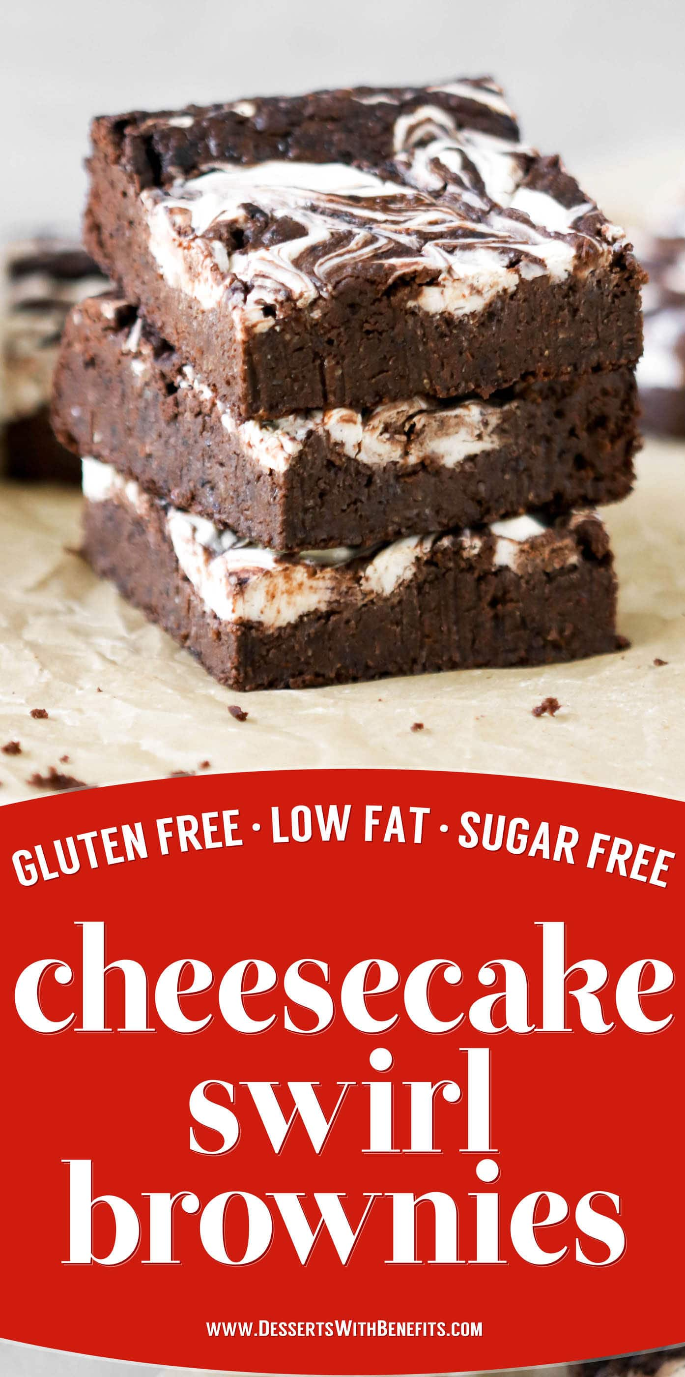 These Cheesecake Swirl Brownies are fudgy, dense, and chocolatey. And they're gluten free, sugar free, high fiber, and high protein too!