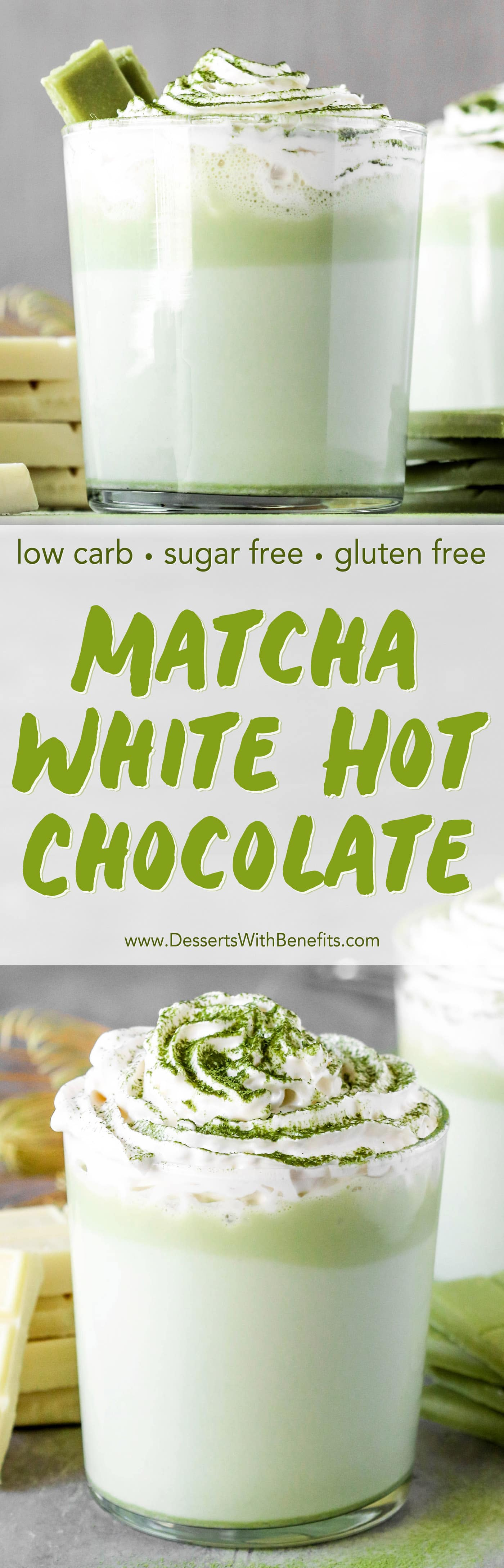 Swap out regular Hot Chocolate with this unique, fun, and sophisticated Matcha Green Tea White Hot Chocolate -- it'll be your new favorite winter treat. It's sugar free, low carb, and gluten free too! #sugarfree #lowcarb #healthychocolate #hotchocolate #healthydessert #hotchocolaterecipe #glutenfree #matchachocolate #healthymatcharecipes #matchadessert #matchatea
