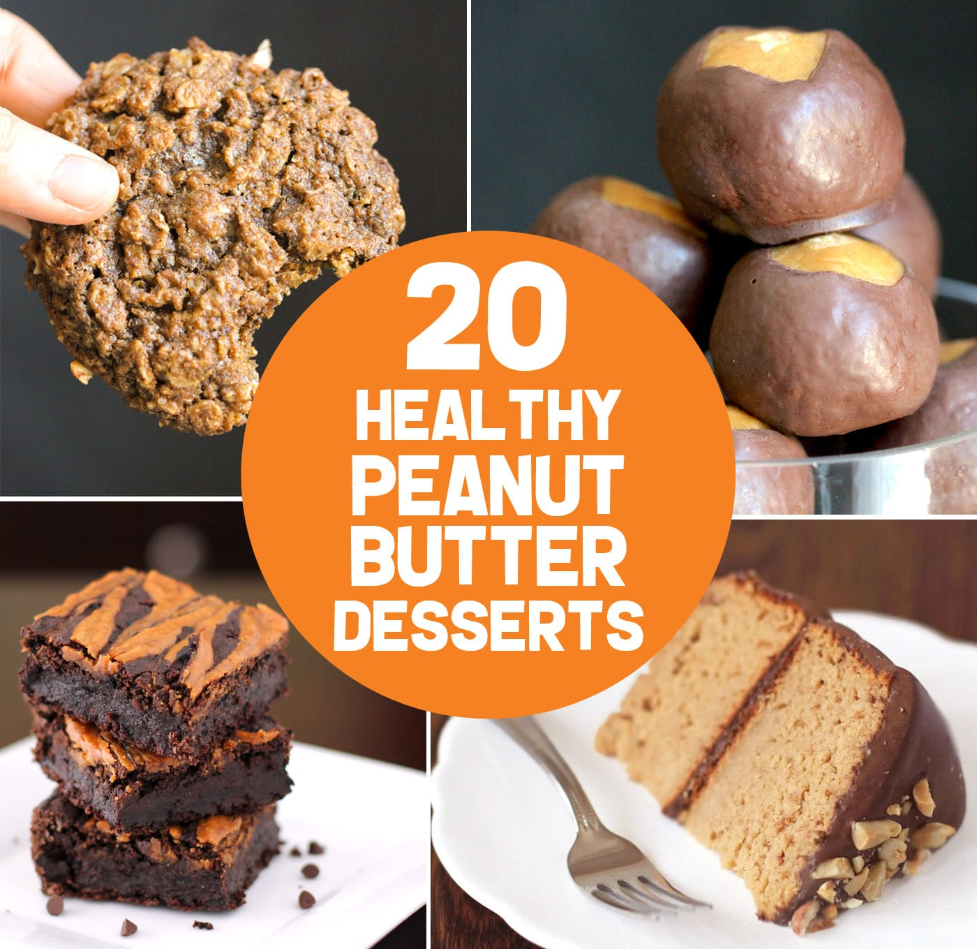 Let the peanut butter lover inside you go ham with these 20 healthy peanut butter dessert recipes! From chewy peanut butter cookies to fluffy peanut butter mousse, from peanut butter cake to buckeye balls, and more. There are options for everyone, with sugar free, low carb, low fat, high protein, high fiber, gluten free, dairy free, vegan, and keto recipes! #glutenfreedessert #lowcarbdessert #ketodessert #highprotein #healthycake #glutenfreecake #sugarfreecake #veganbrownies #ketofudge #fatbombs