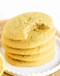 These Lemon Sugar Cookies are packed with bright and refreshing lemon flavor -- no need for the butter, sugar, or flour! Yes, these cookies are dairy free, sugar free, and gluten free. Perfect for the lemon lovers out there! Can you guess the secret ingredient that makes them uber soft?