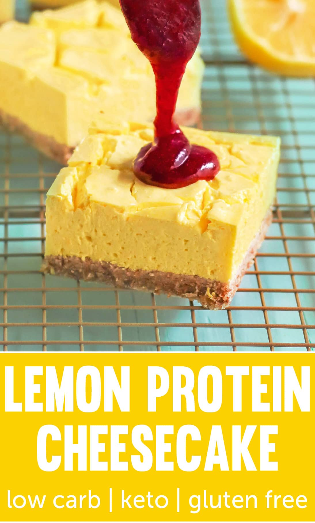 If you like cheesecake but don't want all the extra fat, calories, and sugar, make these Lemon Cheesecake Bars! It's just as rich and tasty as the original, but it's secretly sugar free, low carb, high protein, gluten free, and keto-friendly too!