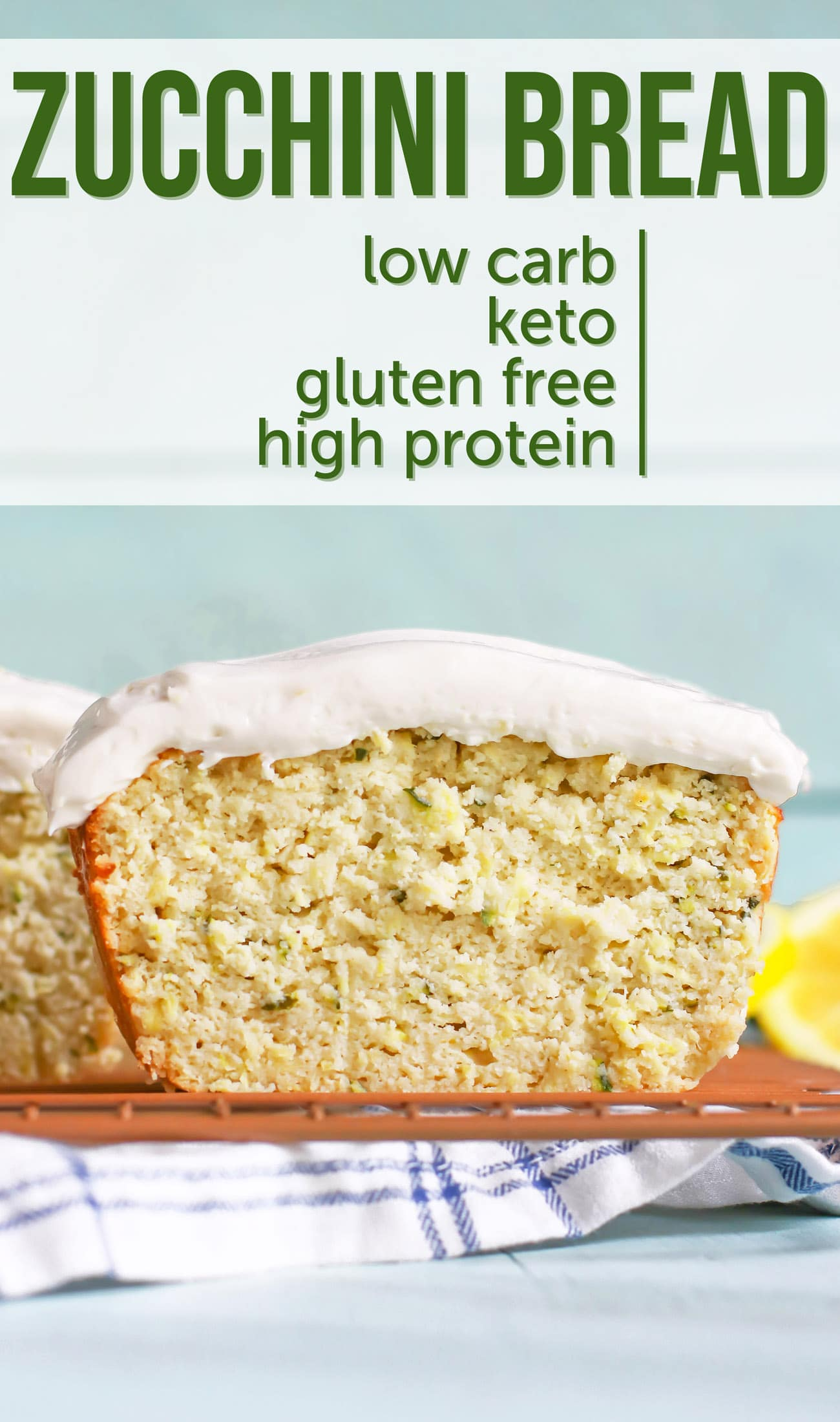 This low-carb and gluten-free Zucchini Bread is super easy to make and uses simple ingredients, such as coconut flour — a paleo, keto-friendly, gluten-free flour — and Greek yogurt — which is sugar free and high protein! It's soft and moist, just like Banana Bread, but contains a vegetable you can't taste! If you grow your own zucchini, or are looking for new recipes using zucchini, you've gotta give this healthy Zucchini Bread recipe a try!