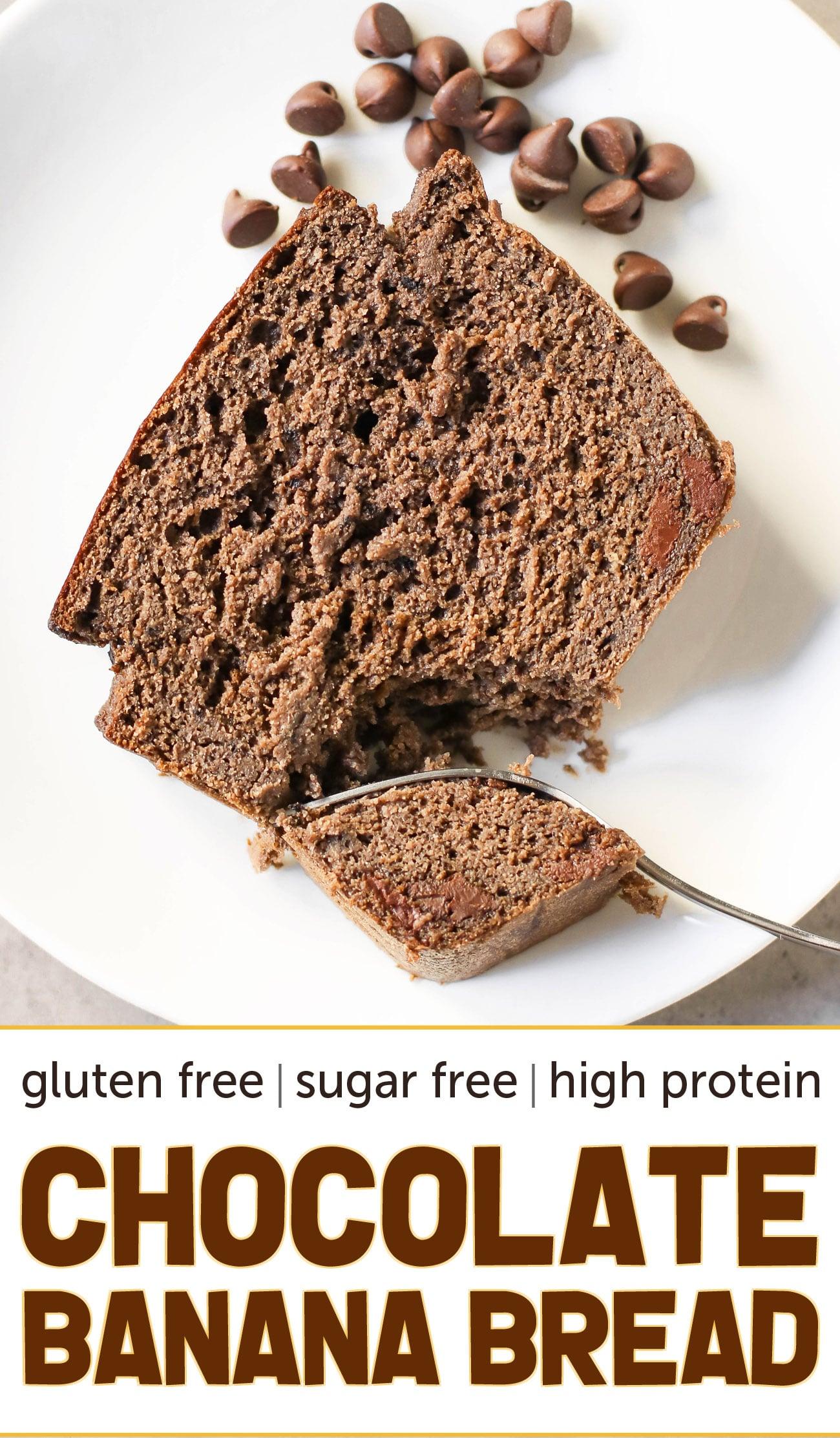 Double Chocolate Banana Bread (sugar free, high protein, high fiber, gluten free, dairy free)