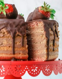 Seven-Layer Chocolate-Covered Strawberry Cake (sugar free, gluten free)